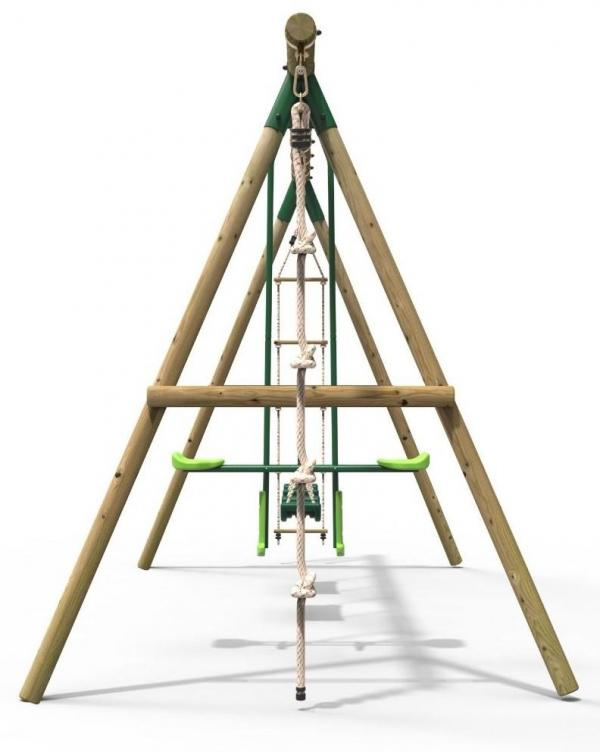 Rebo Green Wooden Round Pole Garden Swing Set - Saturn Including Swing Anchors-17743