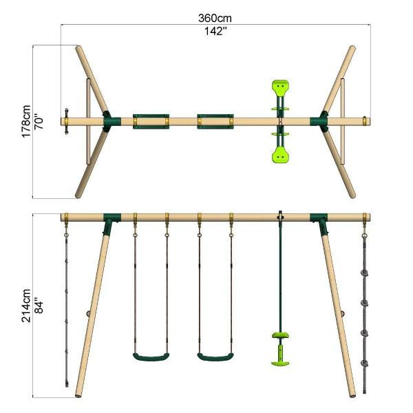 Rebo Green Wooden Round Pole Garden Swing Set - Saturn Including Swing Anchors-17748