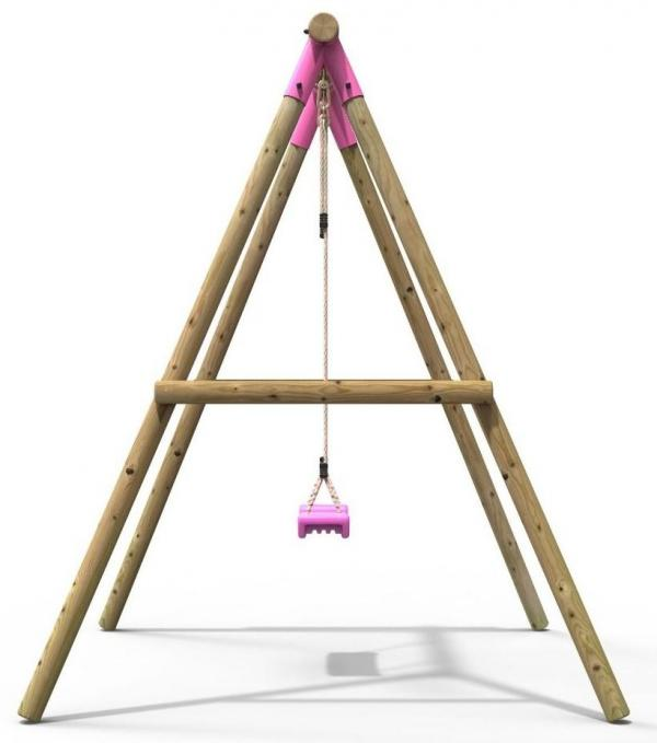 Rebo Pink Wooden Round Pole Garden Swing Set - Solar Including Swing Anchors-17436