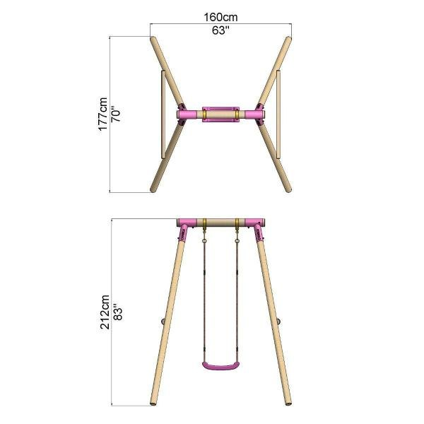 Rebo Pink Wooden Round Pole Garden Swing Set - Solar Including Swing Anchors-17440