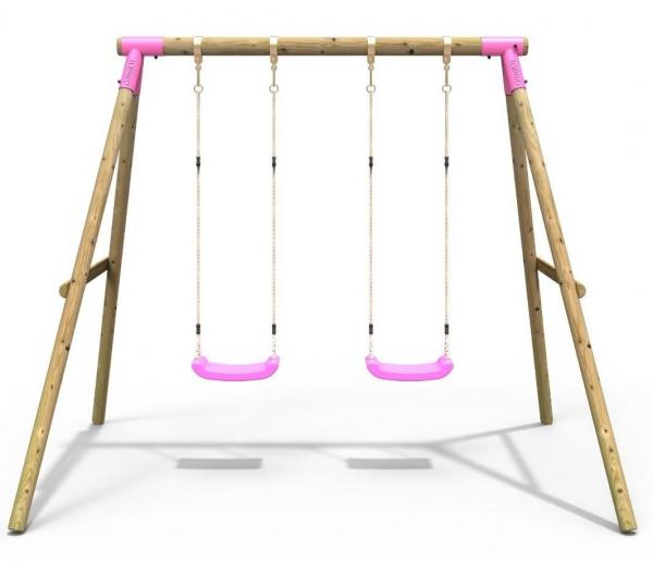 Rebo Pink Wooden Round Pole Garden Swing Set - Venus Including Swing Anchors-17574