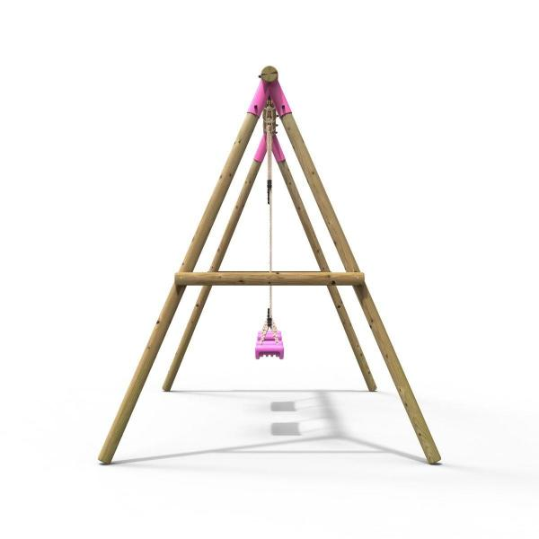 Rebo Pink Wooden Round Pole Garden Swing Set - Venus Including Swing Anchors-17571