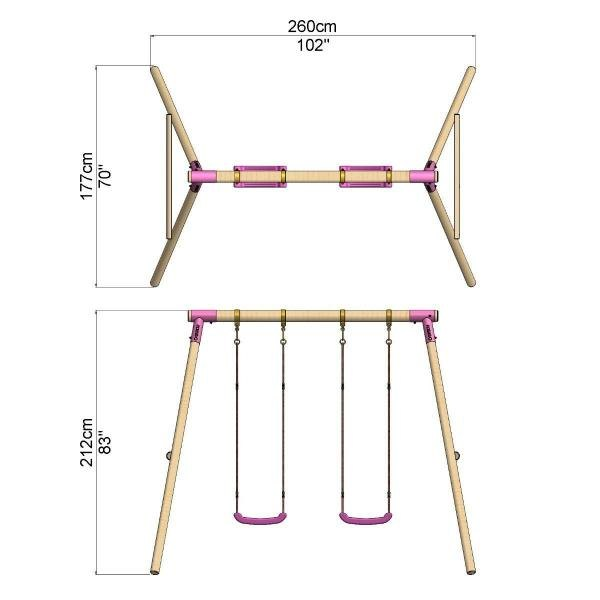 Rebo Pink Wooden Round Pole Garden Swing Set - Venus Including Swing Anchors-17572