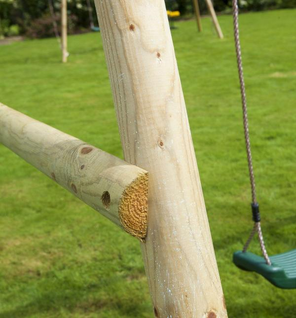 Rebo Green Wooden Round Pole Garden Swing Set - Saturn Including Swing Anchors-17749