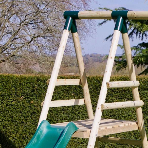 Rebo Apollo Wooden Swing Set with Platform and Slide-18650