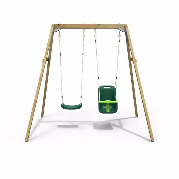 Rebo Active Range Wooden Garden Double Swing with Baby Seat - Green-18588