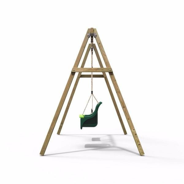 Rebo Active Range Wooden Garden Double Swing with Baby Seat - Green-18590