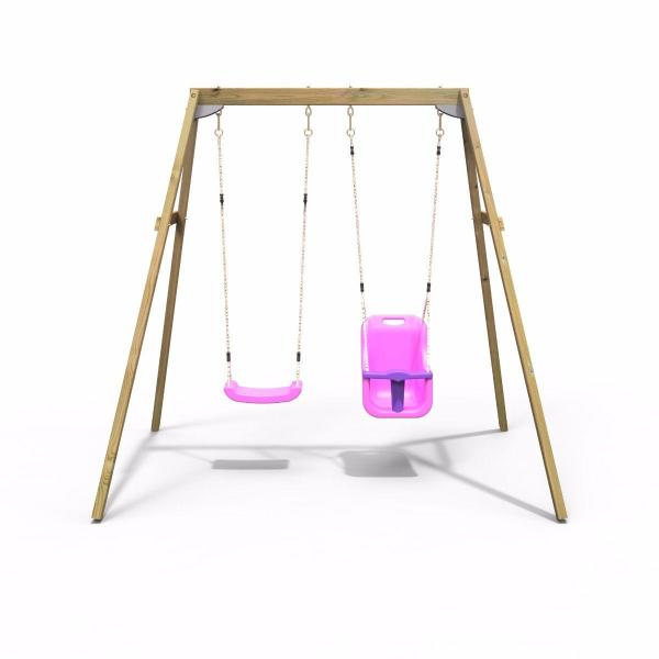 Rebo Active Range Wooden Garden Double Swing with Baby Seat – Pink-18608