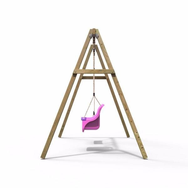 Rebo Active Range Wooden Garden Double Swing with Baby Seat – Pink-18606