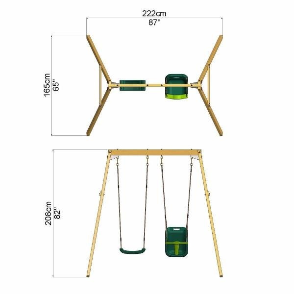 Rebo Active Range Wooden Garden Double Swing with Baby Seat - Green-18589
