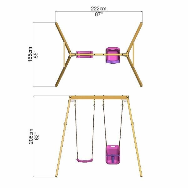Rebo Active Range Wooden Garden Double Swing with Baby Seat – Pink-18610