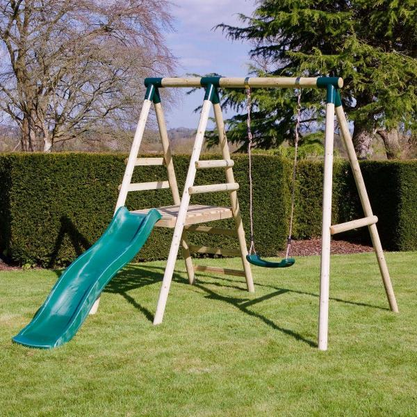 Rebo Apollo Wooden Swing Set with Platform and Slide-18647