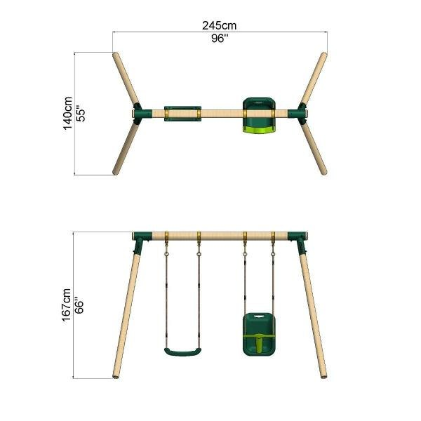 Rebo Junior Range Wooden Garden Swing Set - Junior Luna-18738