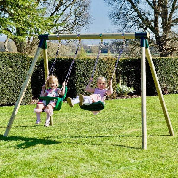 Rebo Junior Range Wooden Garden Swing Set - Junior Luna-18742