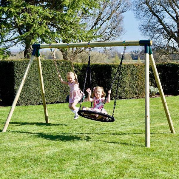 Rebo Junior Range Wooden Garden Swing Set - Junior Meteorite-18748
