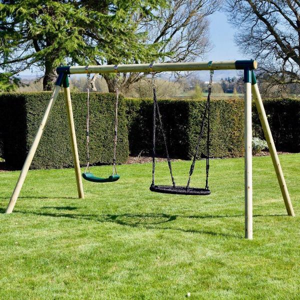 Rebo Junior Range Wooden Garden Swing Set - Junior Meteorite-18751