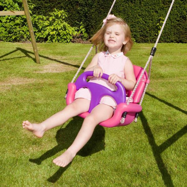 Rebo 3 in 1 Baby, Toddler Children's Growable Swing Seat with Detachable back and T-Bar – Pink-18817