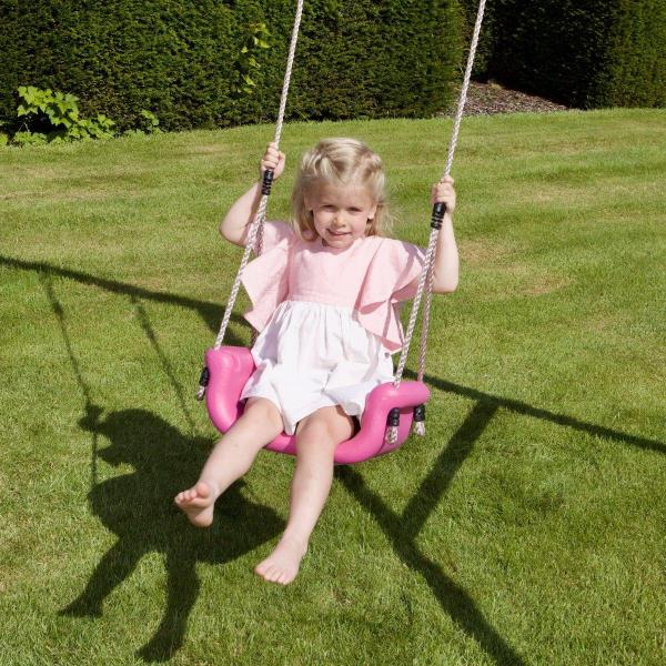 Rebo 3 in 1 Baby, Toddler Children's Growable Swing Seat with Detachable back and T-Bar – Pink-18812