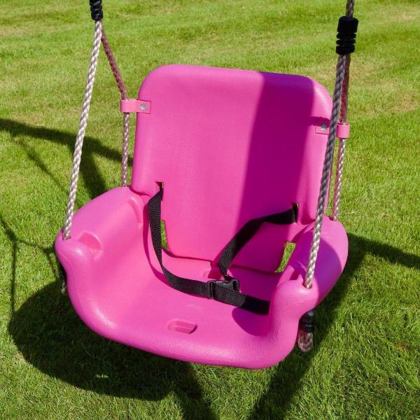 Rebo 3 in 1 Baby, Toddler Children's Growable Swing Seat with Detachable back and T-Bar – Pink-18815