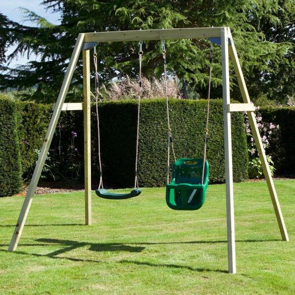 Rebo Active Range Wooden Garden Double Swing with Baby Seat - Green-18585