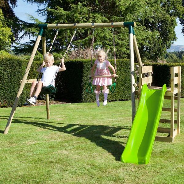 Rebo Wooden Swing Set plus Deck & Slide - Janus Green-18466