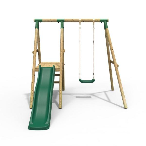 Rebo Apollo Wooden Swing Set with Platform and Slide-18644