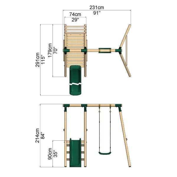 Rebo Apollo Wooden Swing Set with Platform and Slide-18645