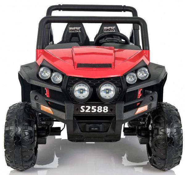 Red Renegade Maverick ride on car - front view