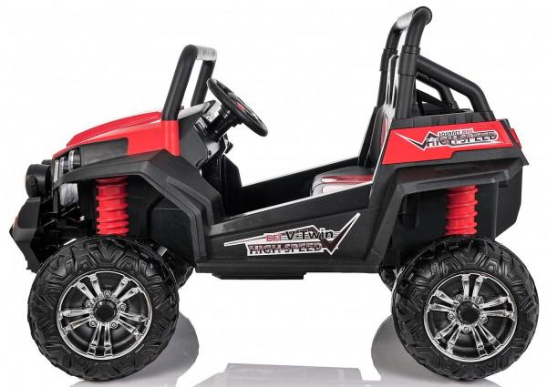 Red Renegade Maverick ride on car - side view