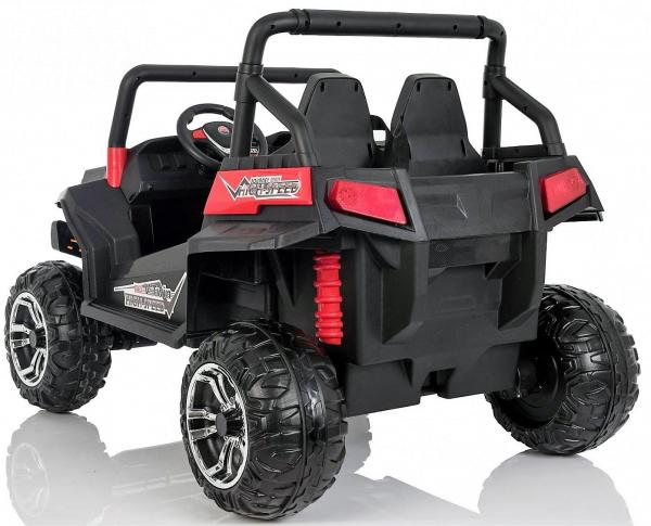 Red Renegade Maverick ride on car - rear side view