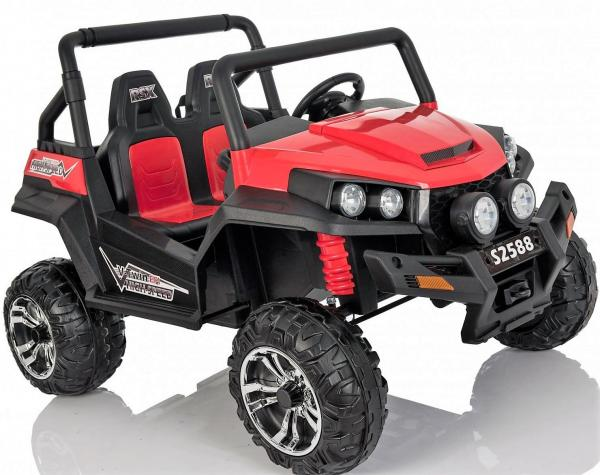 Red Renegade Maverick ride on car - front side view