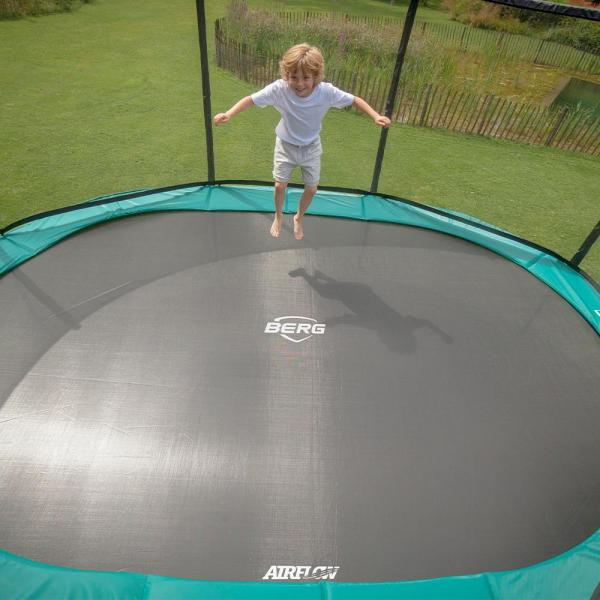 "BERG Grand Champion Oval Trampoline - Safety Net Deluxe - 350*250cm / 11ft 6"" x 8ft 2"" - Green-18909"