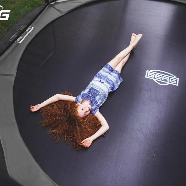 BERG Champion Regular Round Trampoline - Safety Net DLX XL - 430cm / 14.1ft - Grey-18898