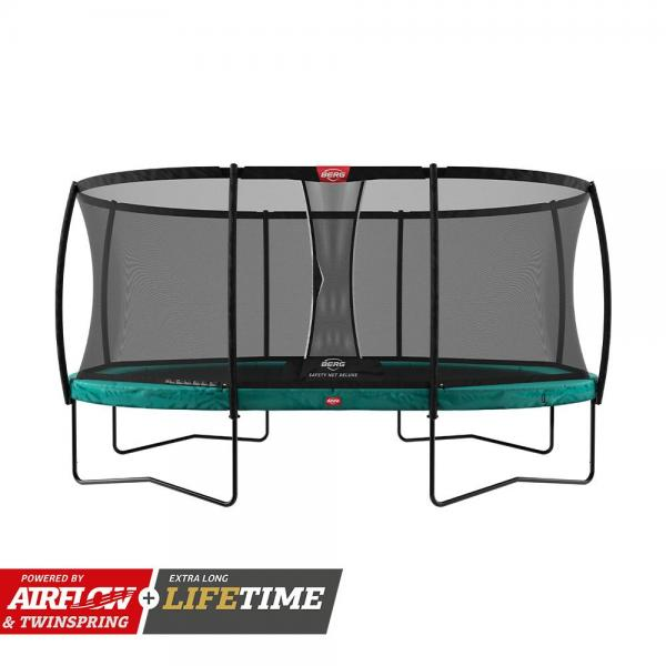 "BERG Grand Champion Oval Trampoline - Safety Net Deluxe - 350*250cm / 11ft 6"" x 8ft 2"" - Green-0"