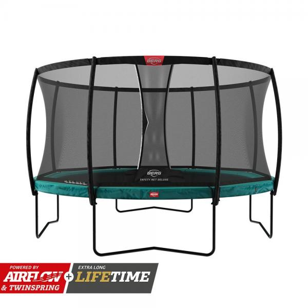 BERG Champion Regular Round Trampoline - Safety Net Deluxe - 430cm / 14.1ft - Green-0