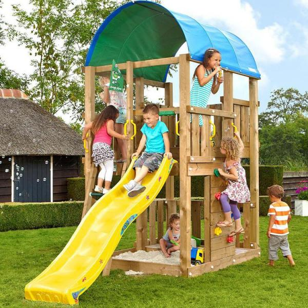 Jungle Gym - Wooden Climbing Frame with Slide for Small Garden - Jungle Farm yellow slide