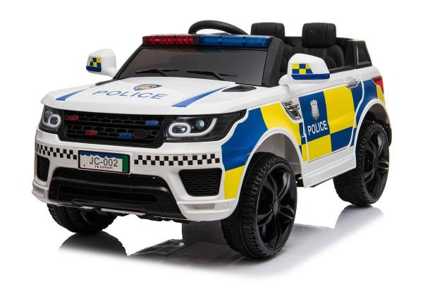 Kids Police Range Rover style SUV 4x4 off road 12v Electric Jeep - White-0