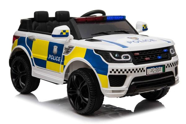 Kids Police Range Rover style SUV 4x4 off road 12v Electric Jeep - White-19106