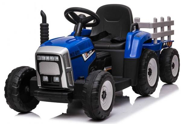 12v Kids Battery Ride on Tractor and Trailer - Blue-0