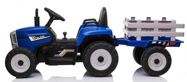 12v Kids Battery Ride on Tractor and Trailer - Blue-19045