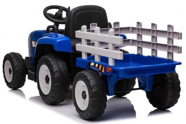 12v Kids Battery Ride on Tractor and Trailer - Blue-19042