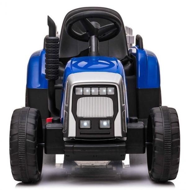 12v Kids Battery Ride on Tractor and Trailer - Blue-19043