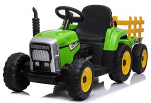 12v Kids Battery Ride on Tractor and Trailer - Green-0