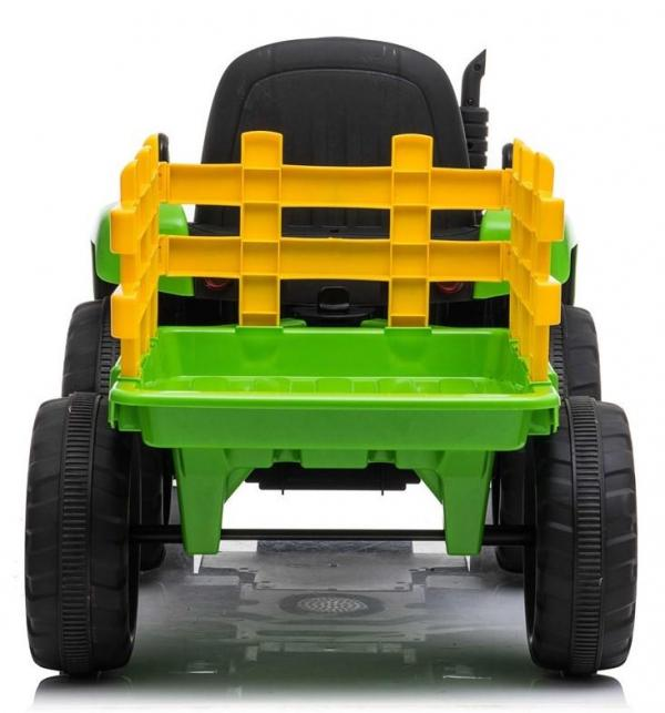 12v Kids Battery Ride on Tractor and Trailer - Green-19019