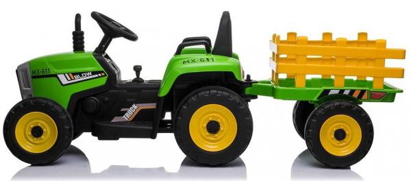 12v Kids Battery Ride on Tractor and Trailer - Green-19016