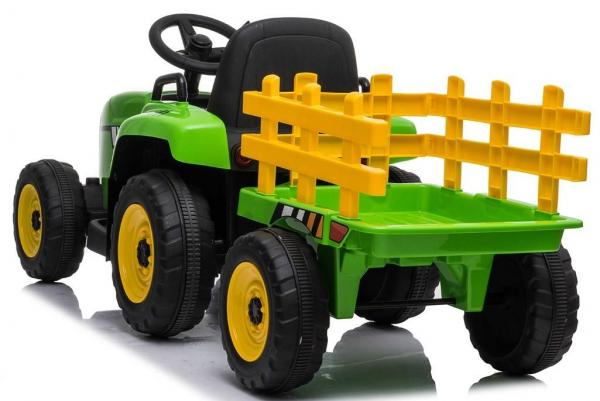 12v Kids Battery Ride on Tractor and Trailer - Green-19015