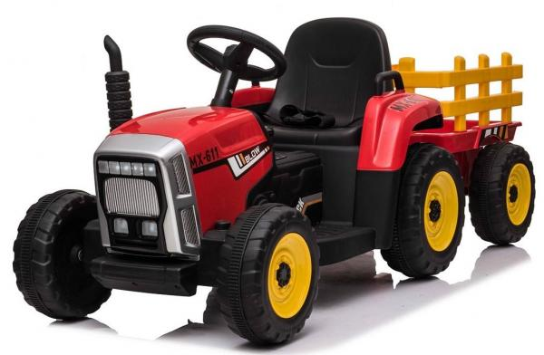 12v Kids Battery Ride on Tractor and Trailer - Red-0