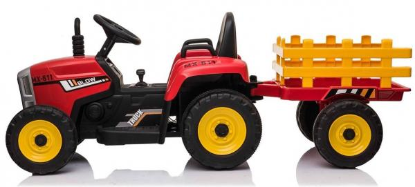 12v Kids Battery Ride on Tractor and Trailer - Red-19027