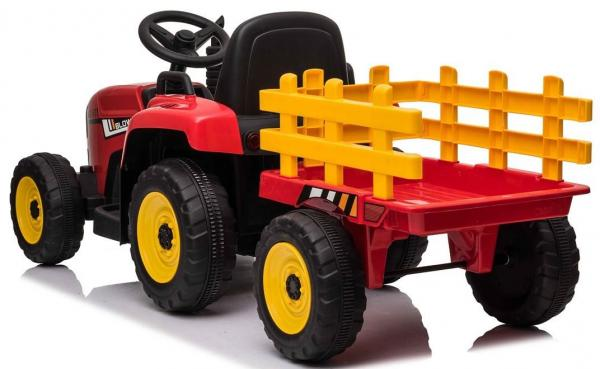 12v Kids Battery Ride on Tractor and Trailer - Red-19030