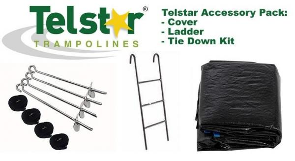 9ft x 13ft Telstar Trampoline Accessory Pack, Ladder, Cover and Tie Down Kit-0
